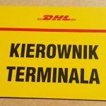 DHL Kierownik Terminala Tabliczka parkingowa